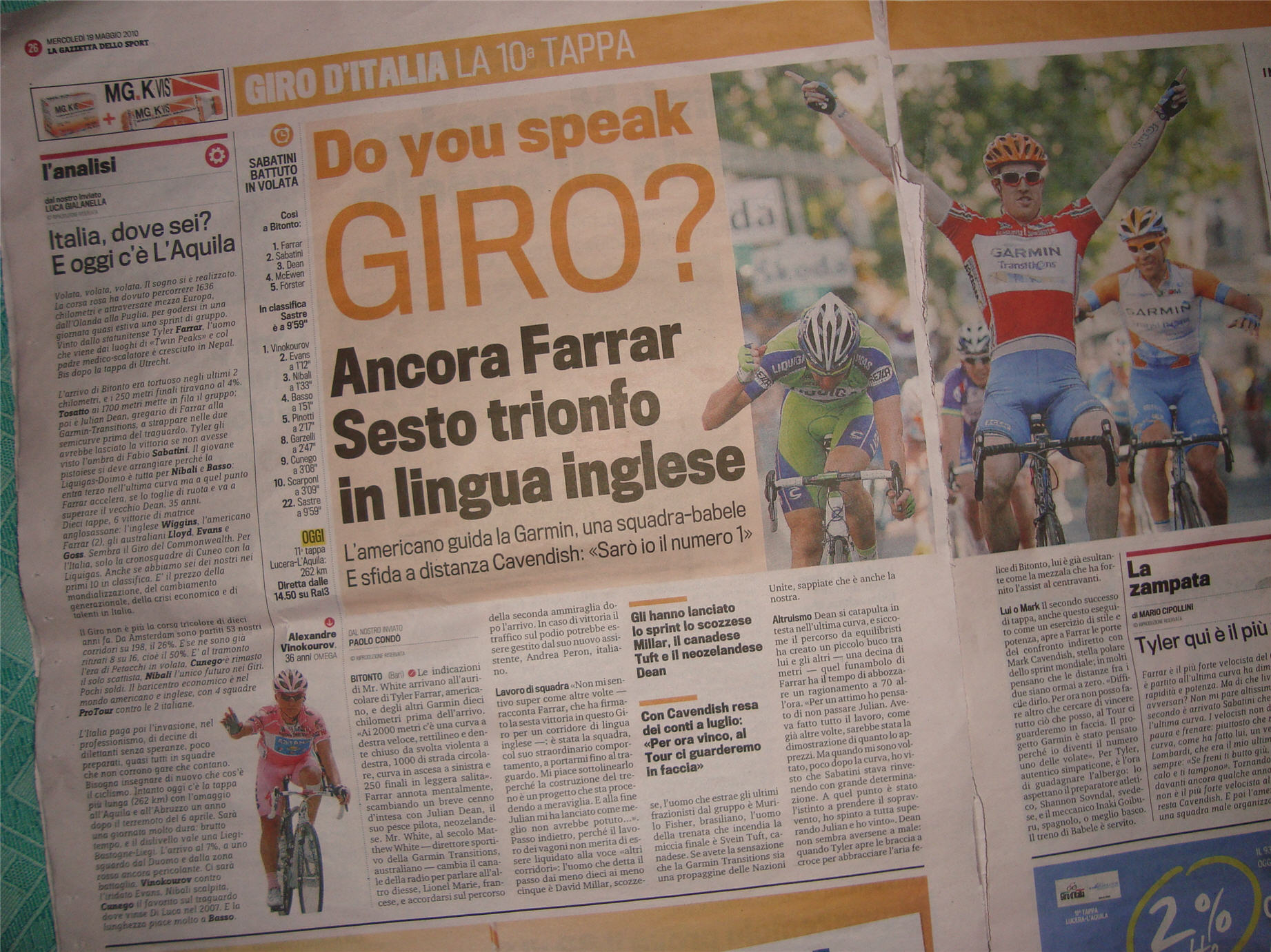 English speaking riders are winning stages - TTT apart, Italians aren't.