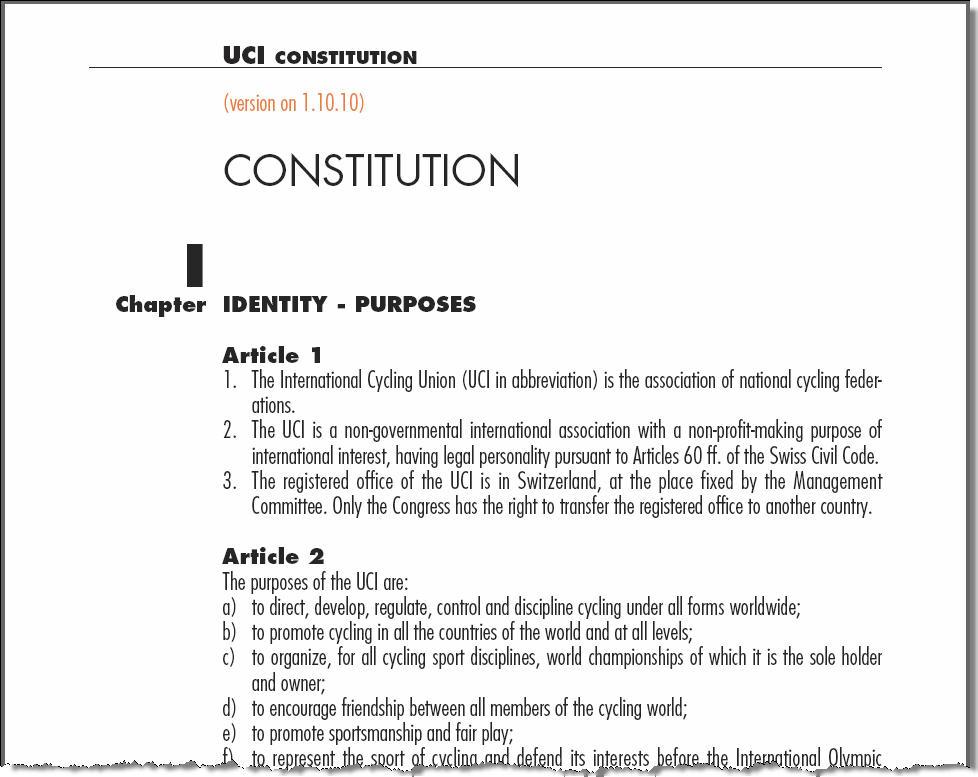 UCI Constitution