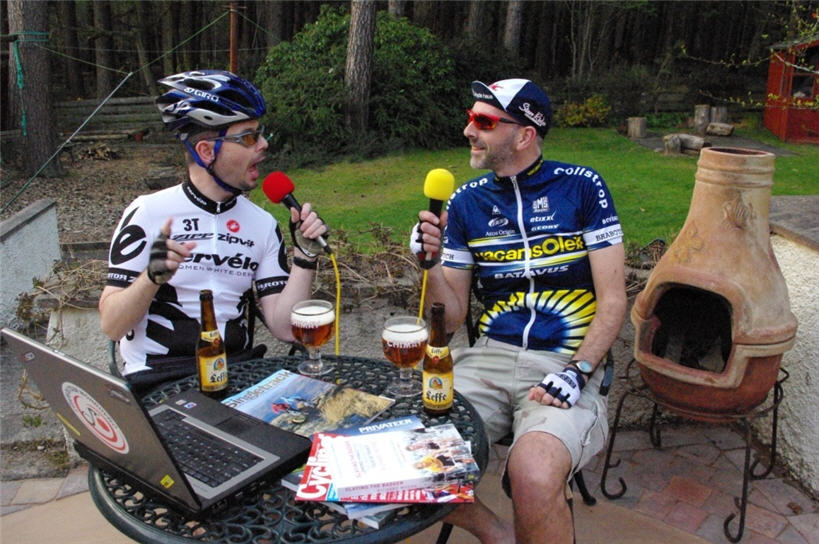 Gary and Graham recording the podcast - apparently they do really dress in cycling gear for it! Colin on Skype is represented by the laptop.