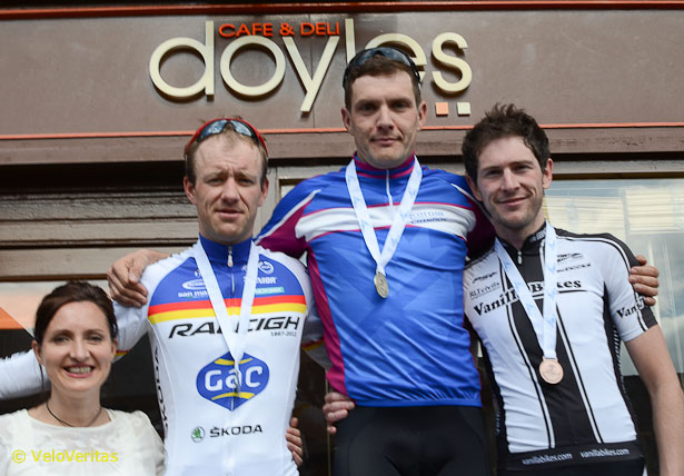The Men's Podium, with James in the SC Champion's jersey.